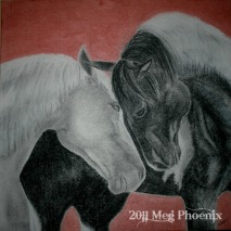 """Together - 24"""" x 24"""" charcoal on canvas"""
