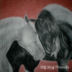 "Together - 24"" x 24"" charcoal on canvas"