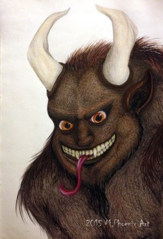 """Krampus- 18"""" x 24"""" colored pencil and copic marker concept drawing"""