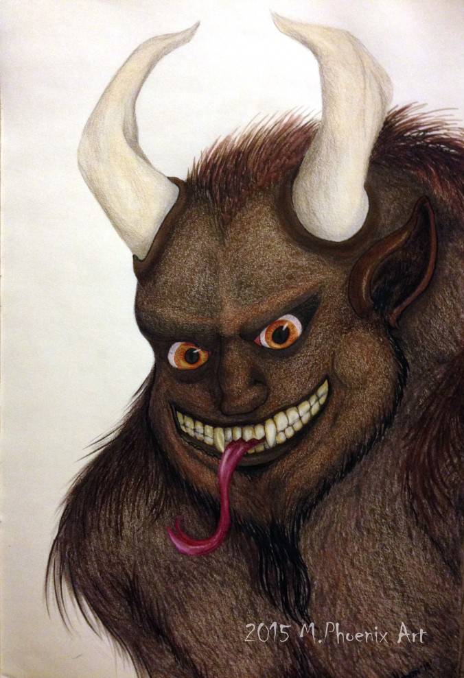 "Krampus- 18"" x 24"" colored pencil and copic marker concept drawing"