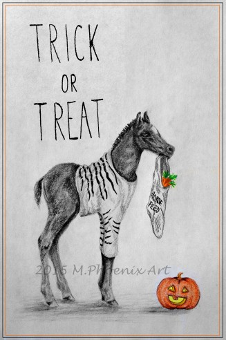 "Trick or Treat 9"" x 12"" graphite/colored pencil"