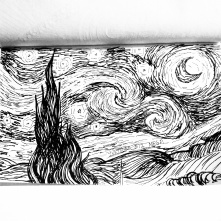 My absolute favorite painting from Vincent Van Gogh, Starry Night. I am in love! I thought it would be fun to replicate it in black and white and see how it turned out. Pretty cool!