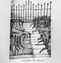 I was doing the landscaping at a place with beautiful stone stairs draped in Juniper. I took a photo and used it to create this scene. I added the iron fence at the top which was not truly there.
