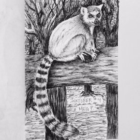 "My son loves King Julien from Madagascar. I was inspired to draw a lemur as we watched ""All Hail King Julien""."