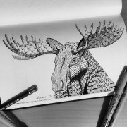 Moose Totem Animal BW