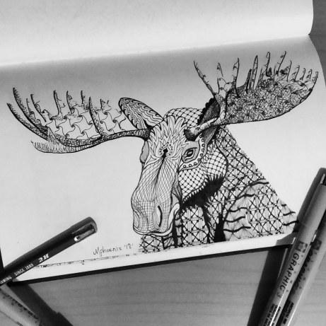 Moose Totem Animal BW